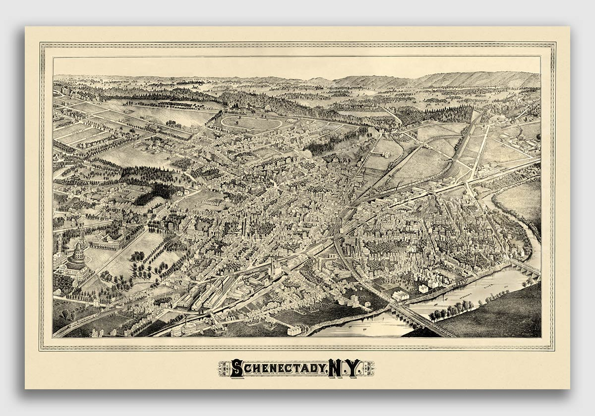 16x24 Bird/'s Eye View 1892 New York City New York Vintage City Map