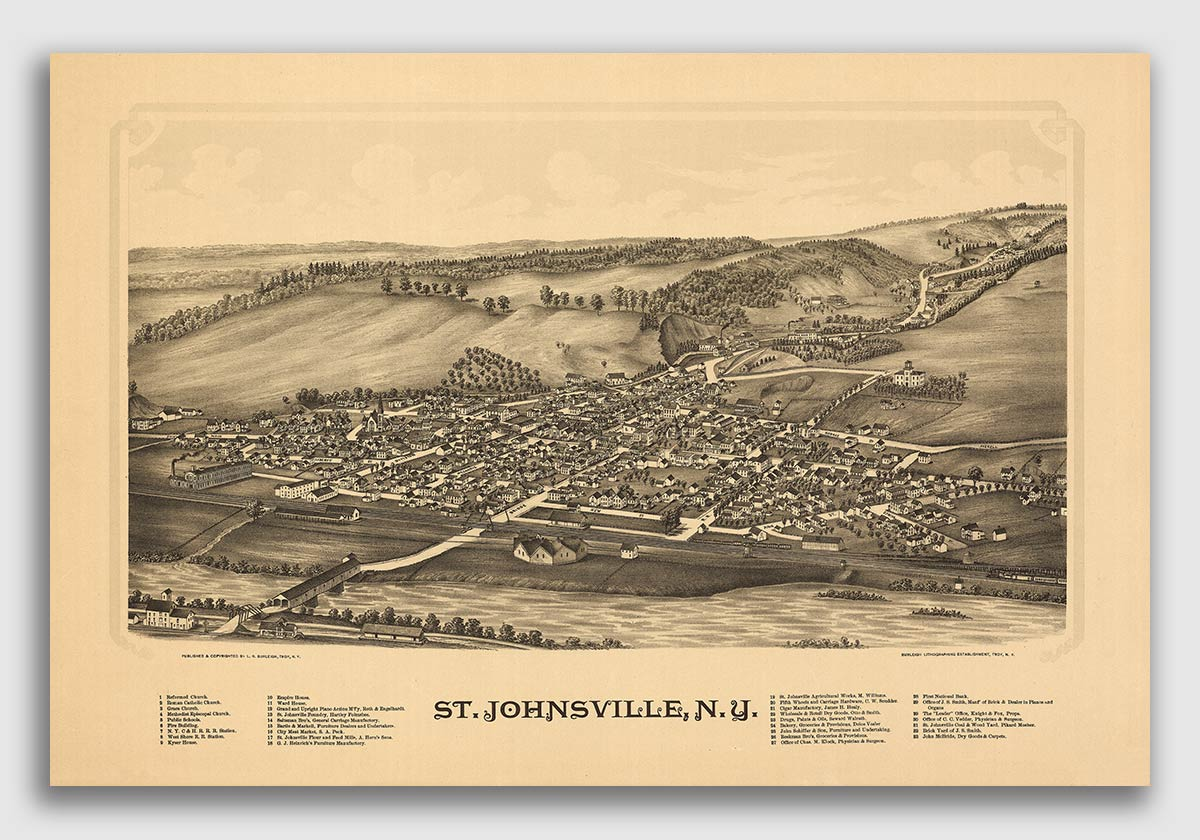 24x36 Cooperstown New York 1890 Historic Panoramic Town Map