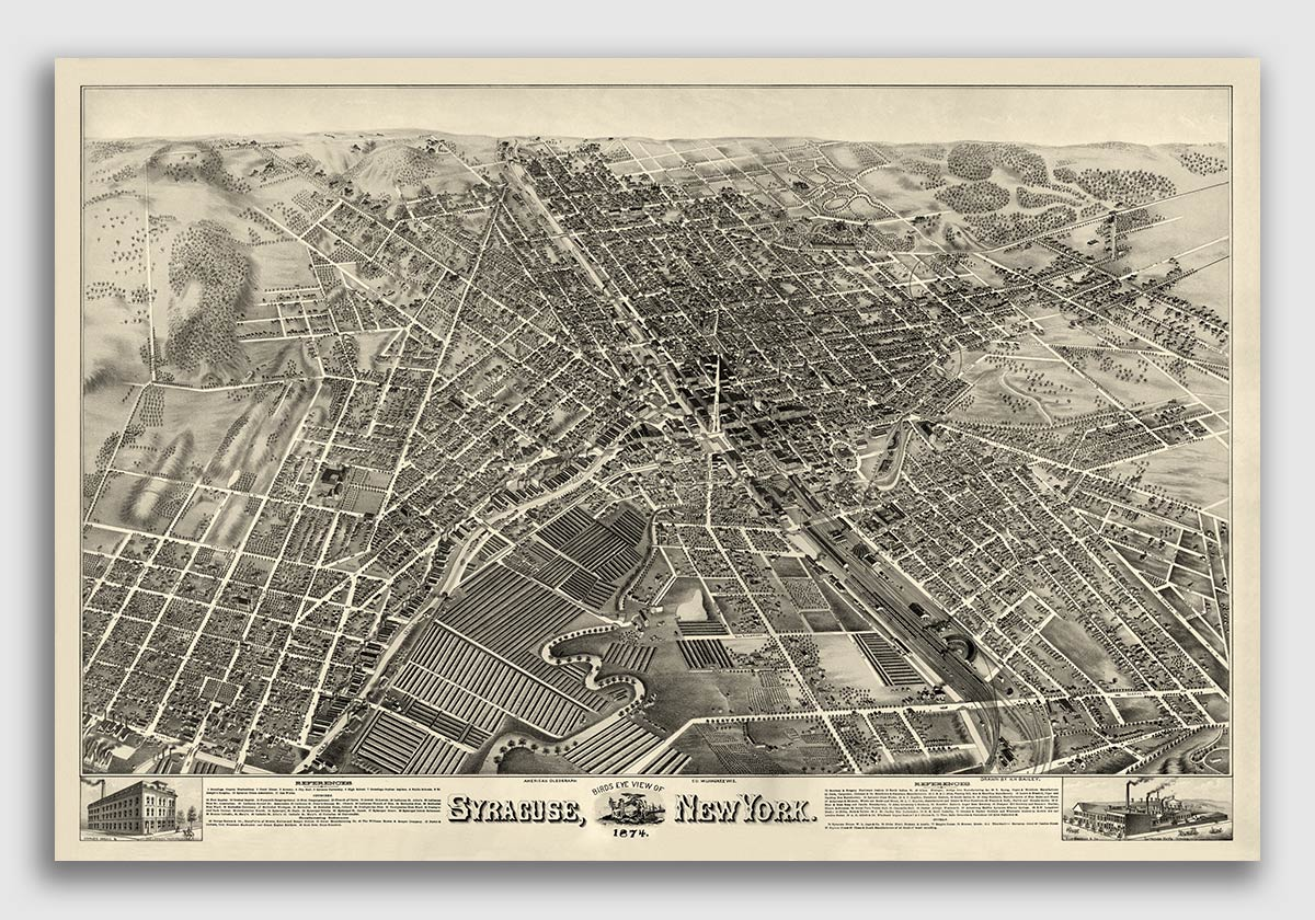 24x42 1885 Mechanicville New York Vintage Old Panoramic NY City Map