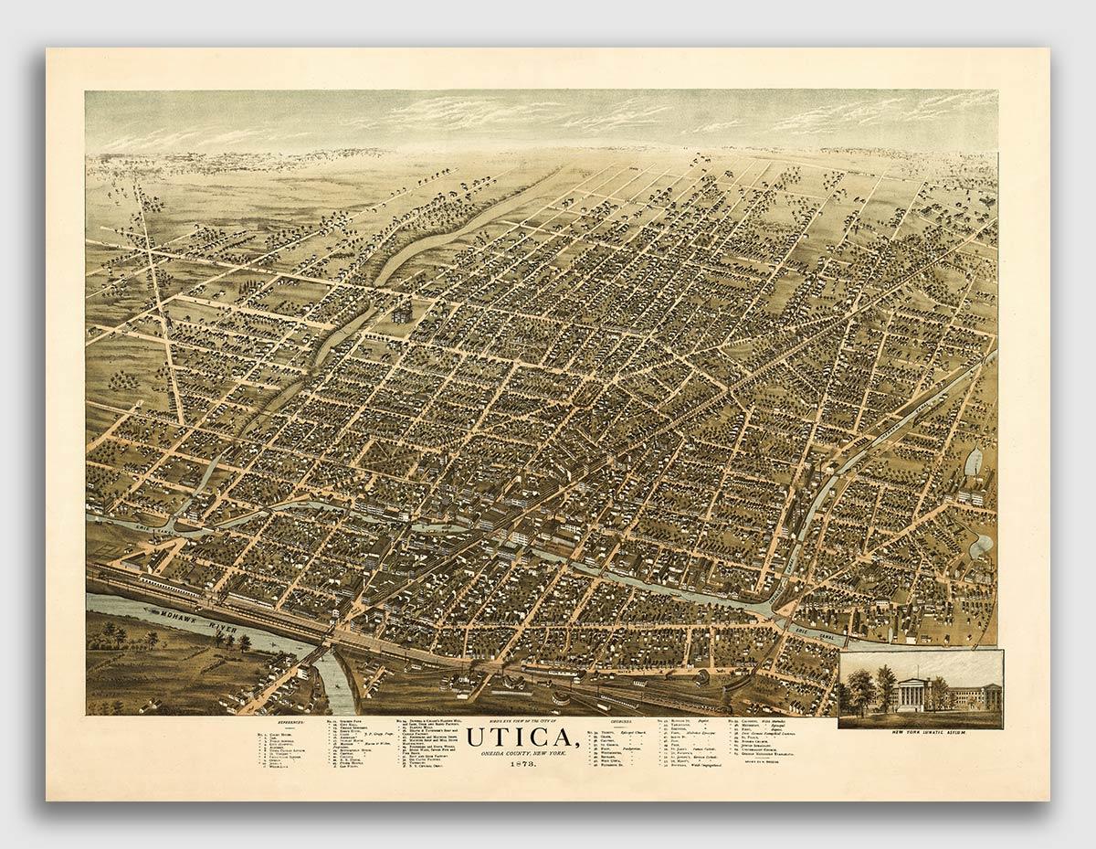 24x32 Utica New York 1873 Historic Panoramic Town Map