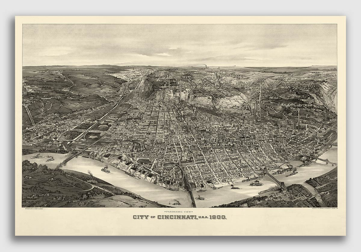 Bird/'s Eye View 1900 Cincinnati Ohio Vintage Style City Map 20x30