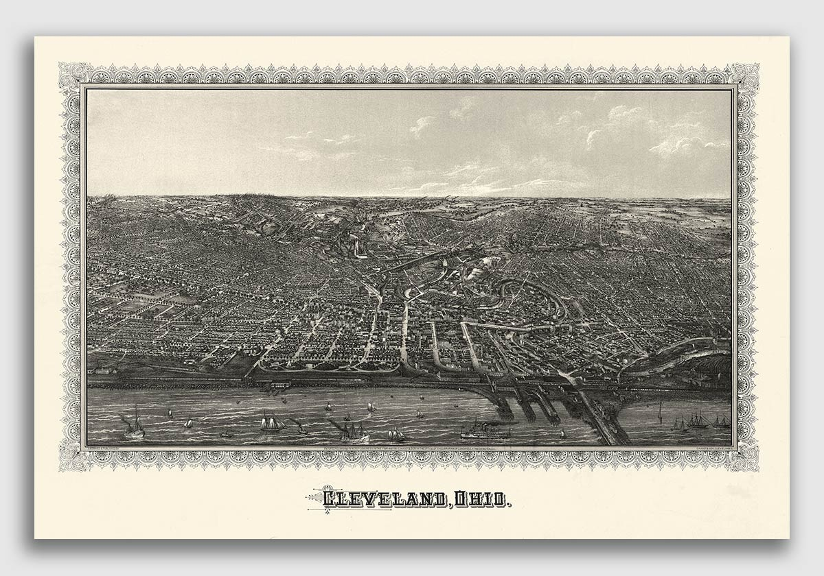 Cleveland Ohio 1887 Historic Panoramic Town Map 16x24