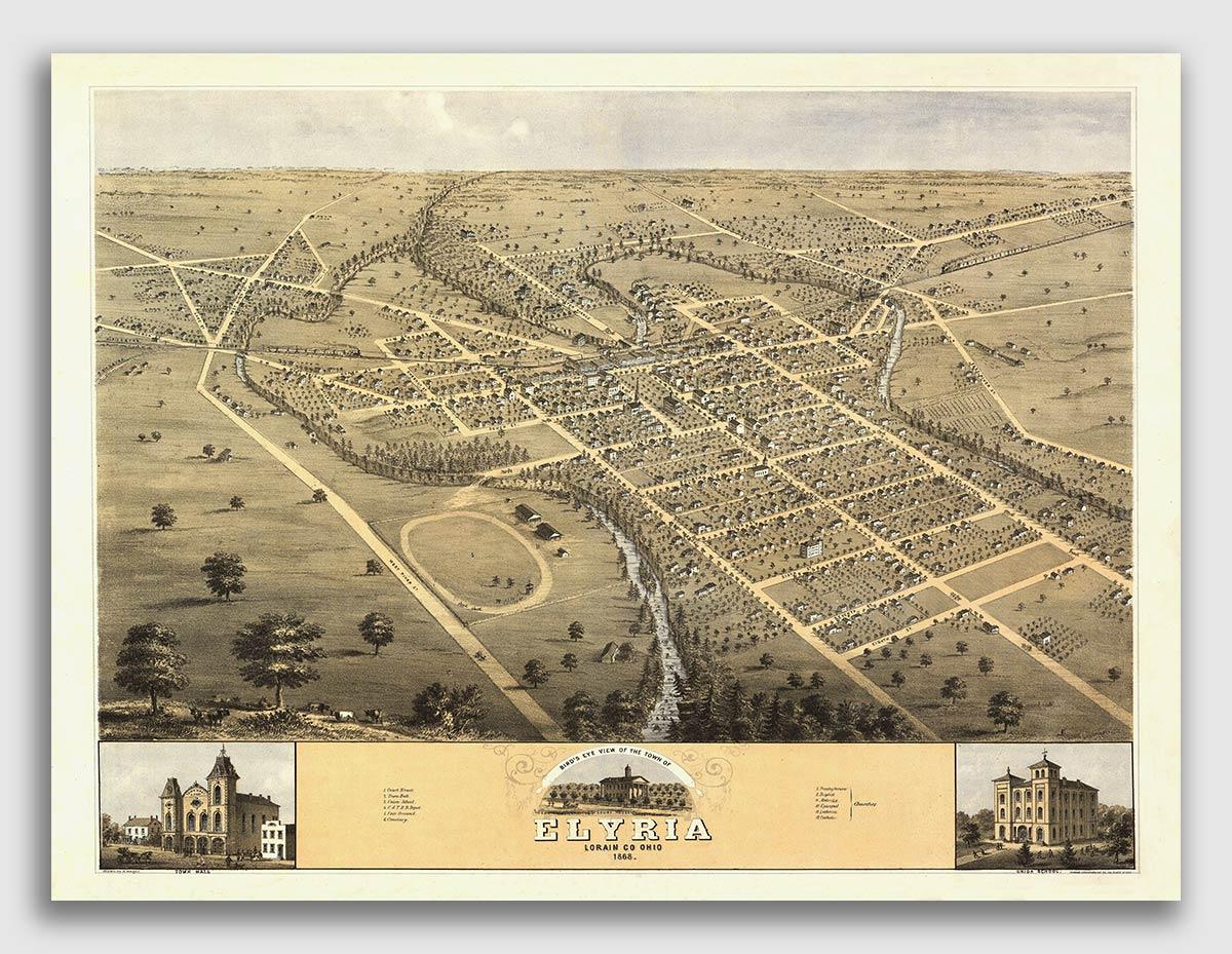 16x24 Cincinnati Ohio 1900 Historic Panoramic Town Map