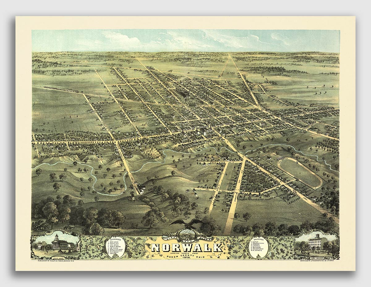 16x24 Bellevue Ohio 1888 Historic Panoramic Town Map