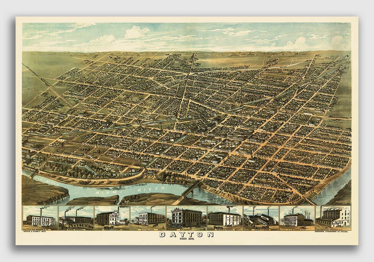 Conneaut Ohio 1896 Historic Panoramic Town Map 24x36
