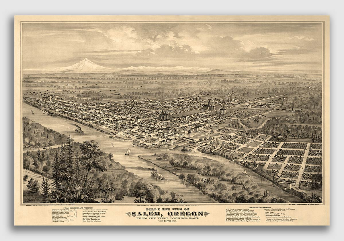 Details about Bird\'s Eye View 1876 Salem Oregon Vintage Style City Map -  20x30