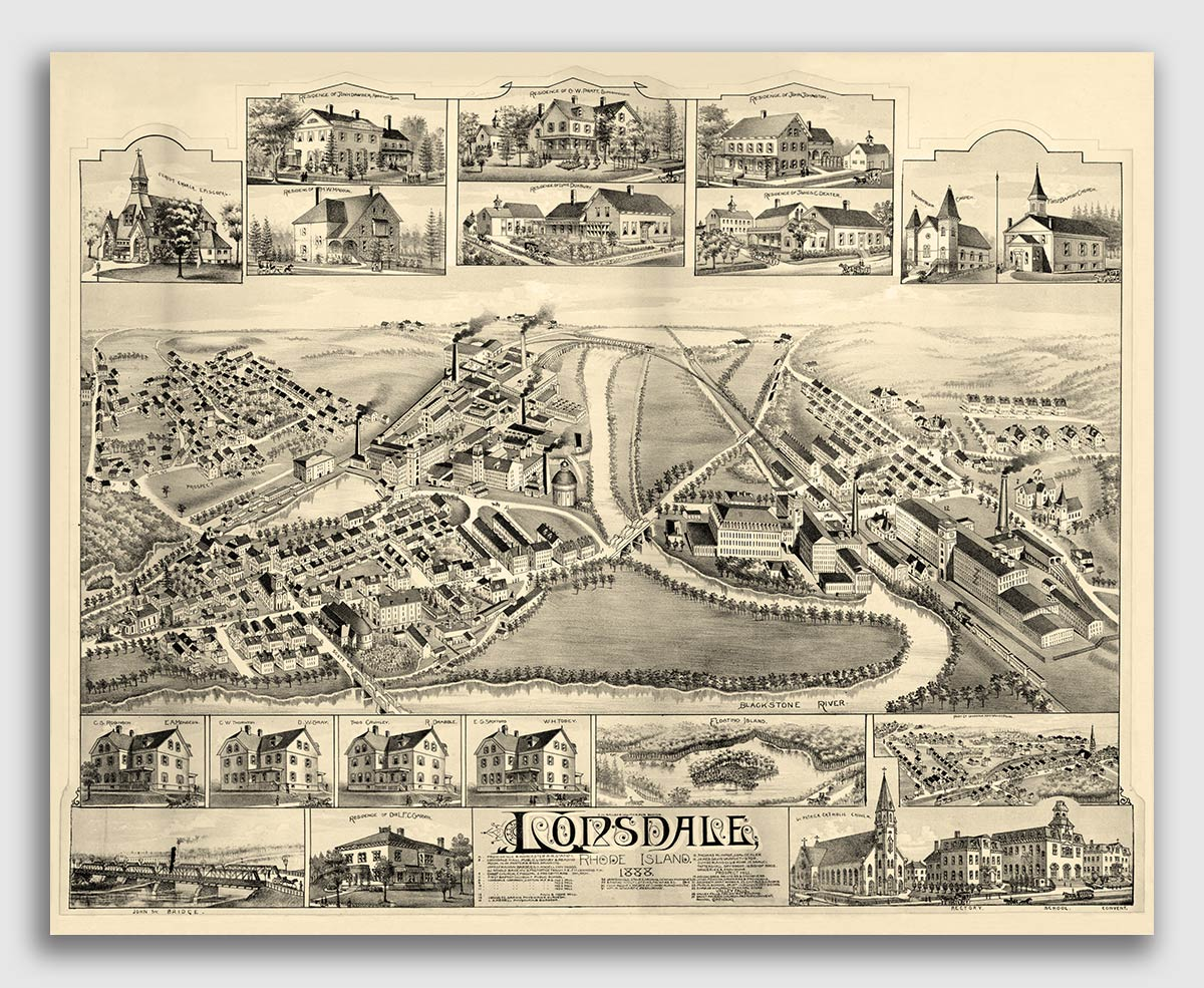 RI Vintage Style City Map 24x32 Bird/'s Eye View 1891 Bristol