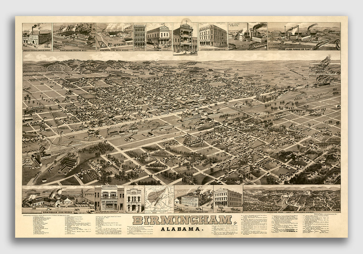 24x36 1887 Selma Alabama Vintage Old Panoramic City Map