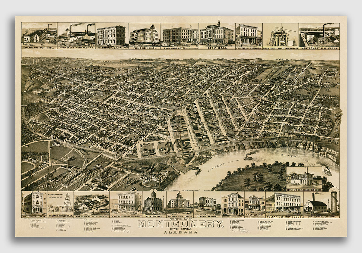 18x24 Gadsden Alabama 1887 Historic Panoramic Town Map