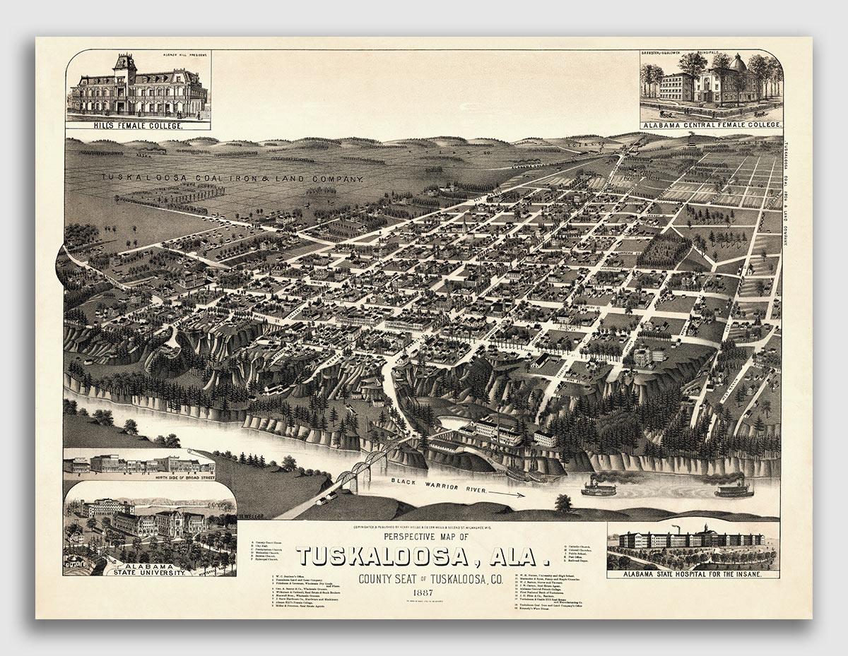 18x24 1887 Tuskaloosa Alabama Vintage Old Panoramic City Map