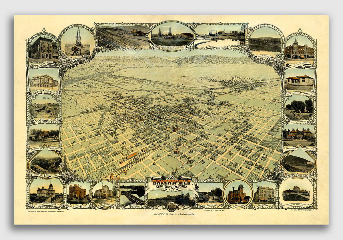 1901 Bakersfield California Vintage Old Panoramic City Map 20x30