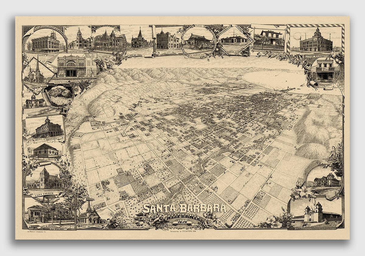 24x36 1875 San Francisco California Vintage Old Panoramic City Map