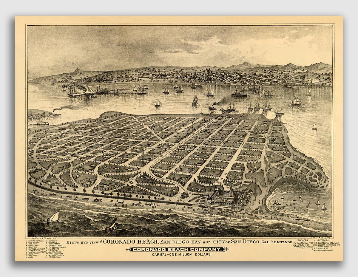 Coronado Island California 1880 Historic Panoramic Town Map - 18x24 ...