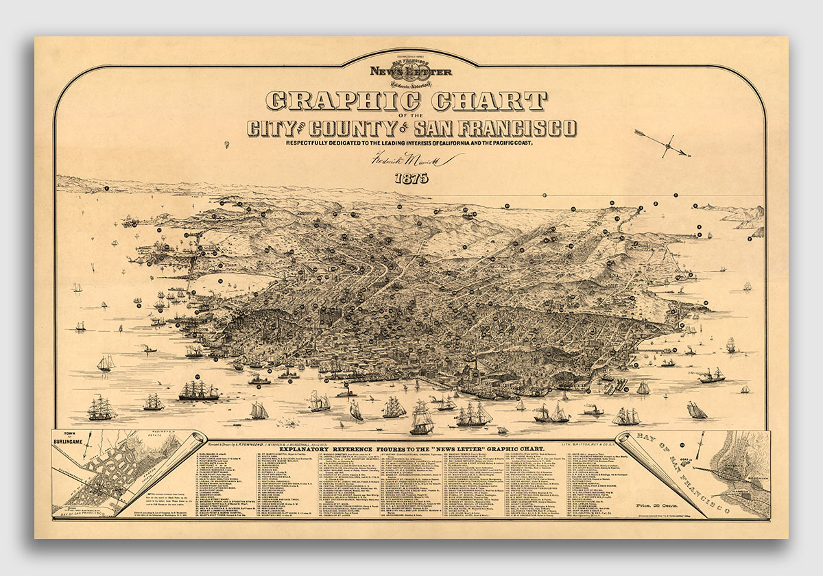 16x24 Bird/'s Eye View 1877 Los Angeles California Vintage Style City Map