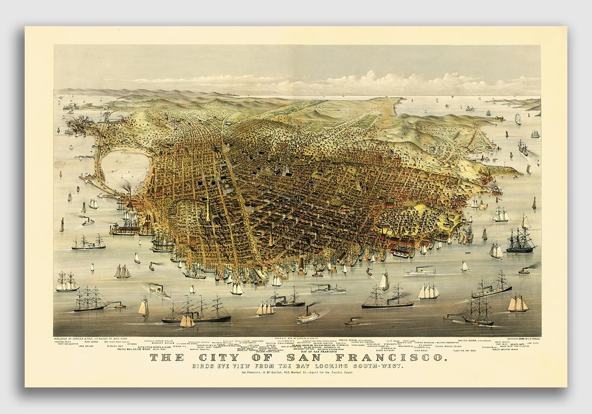 24x48 Bird/'s Eye View 1874 Wilmington Delaware Vintage Style City Map