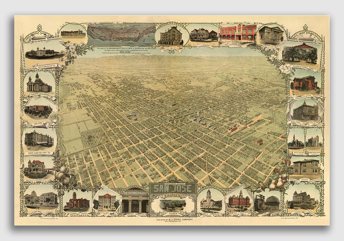 Coronado Island California 1880 Historic Panoramic Town Map 18x24