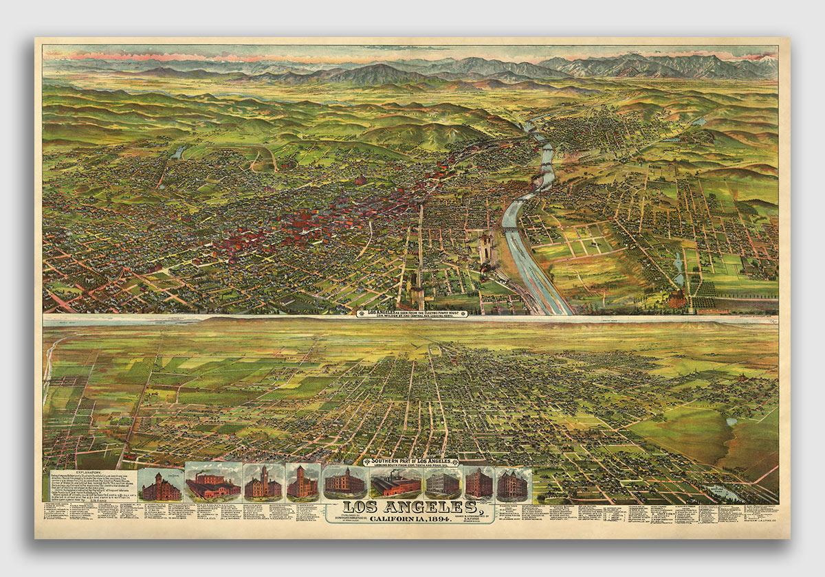 Bird/'s Eye View 1887 Auburn California Vintage Style City Map 20x30