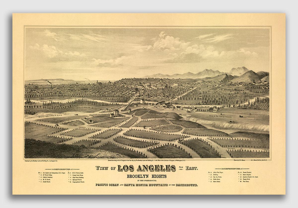Bird/'s Eye View 1877 Los Angeles California Vintage Style City Map 24x36