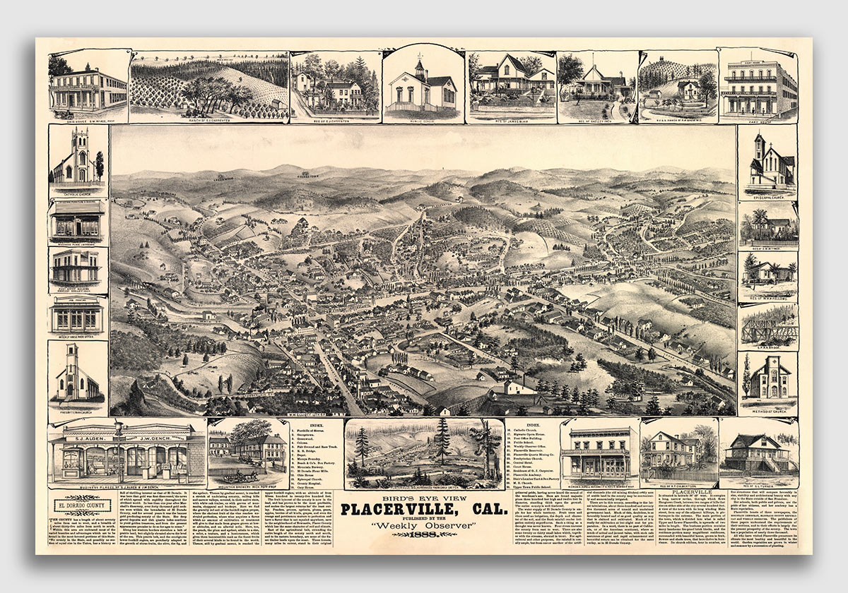 Placerville California Map.1888 Placerville California Vintage Old Panoramic City Map 24x36