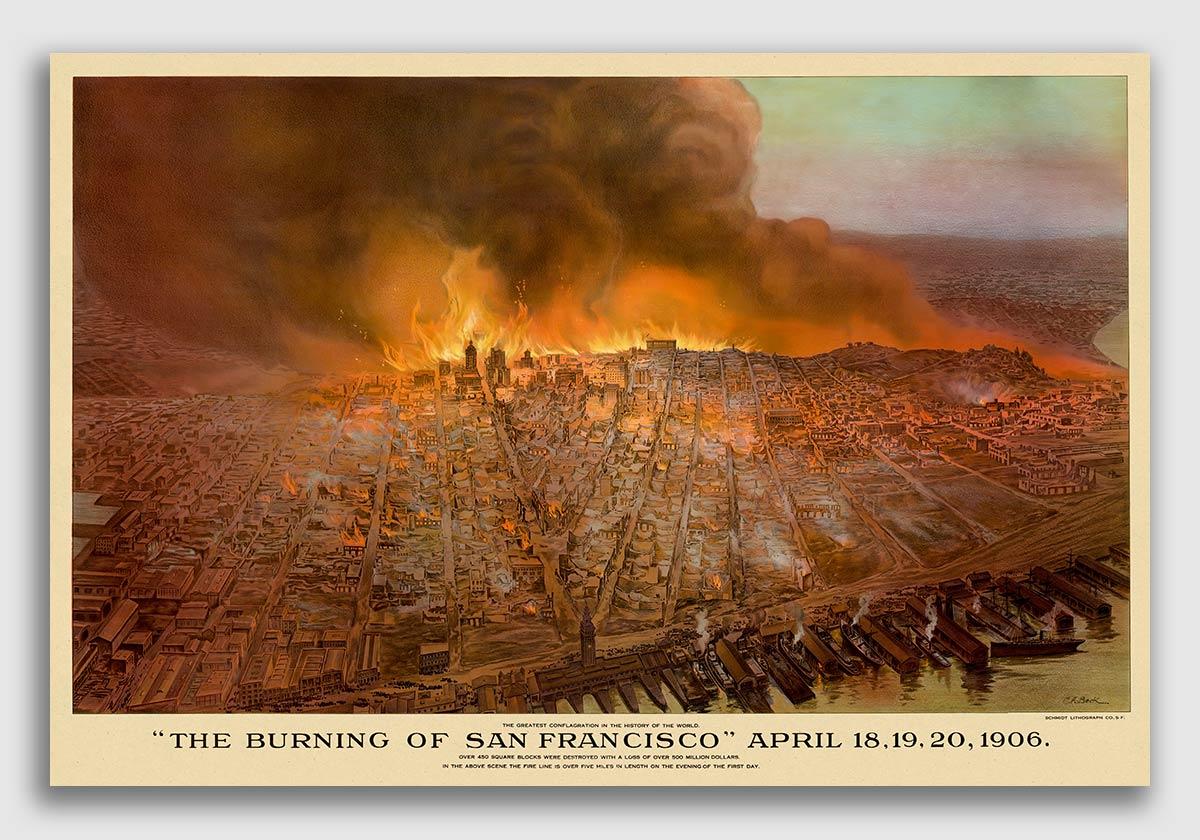 Bird/'s Eye View 1875 San Jose California Vintage Style City Map 24x36