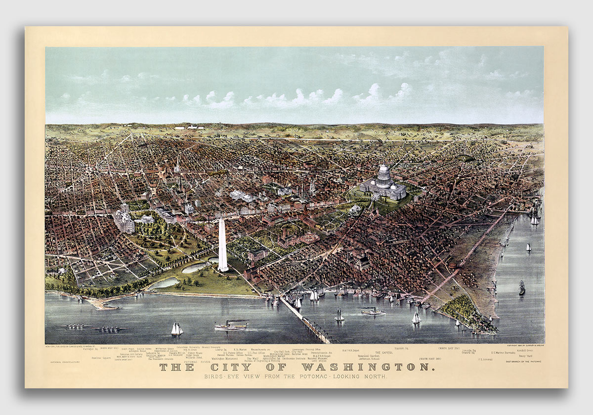 20x30 1857 Washington DC Vintage Old Panoramic City Map