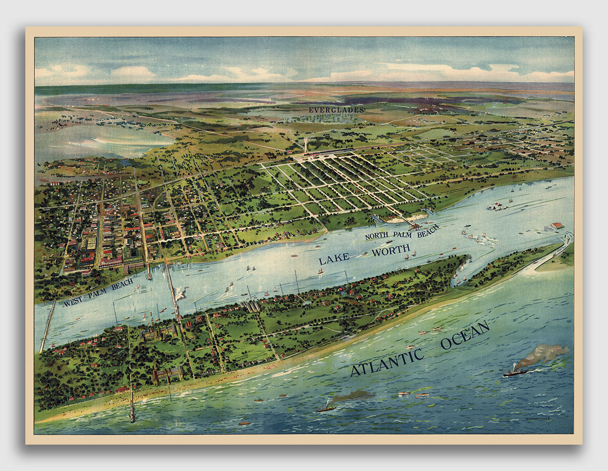 Bird/'s Eye View 1884 Cedar Key Florida Vintage Style City Map 20x36