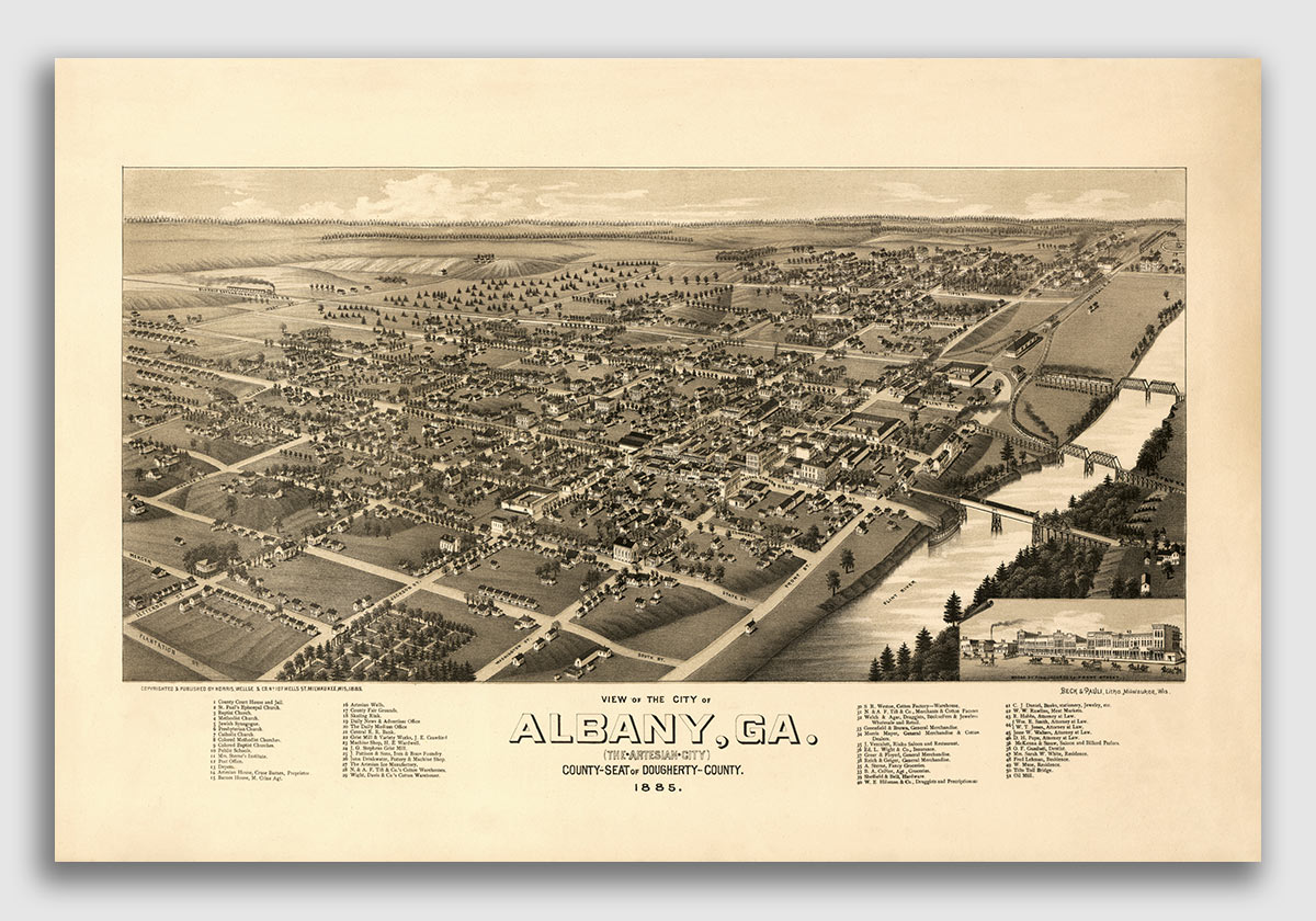 1876 Healdsburg California Vintage Old Panoramic City Map 20x28