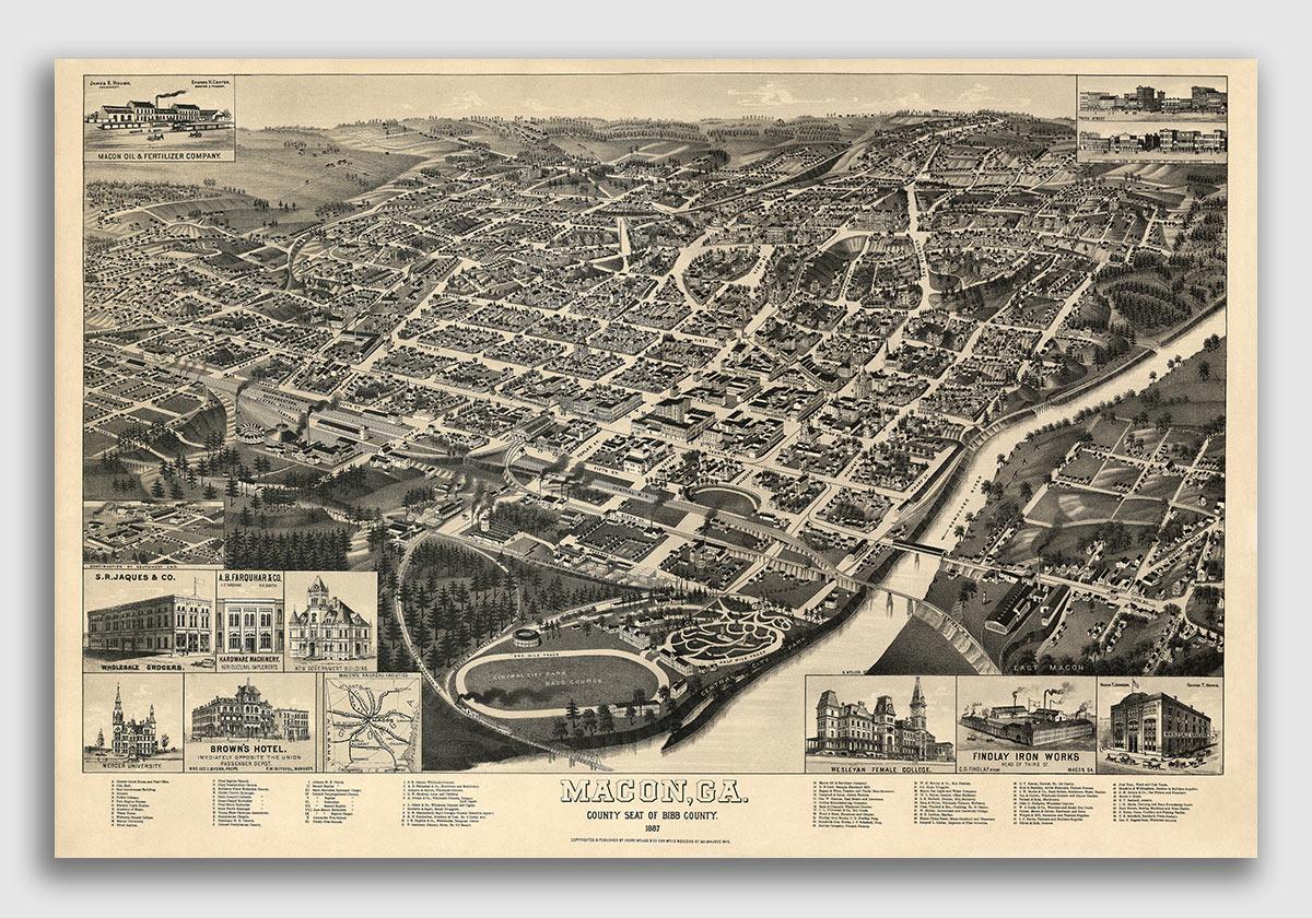 Tallapoosa Georgia 1892 Historic Panoramic Town Map 24x32