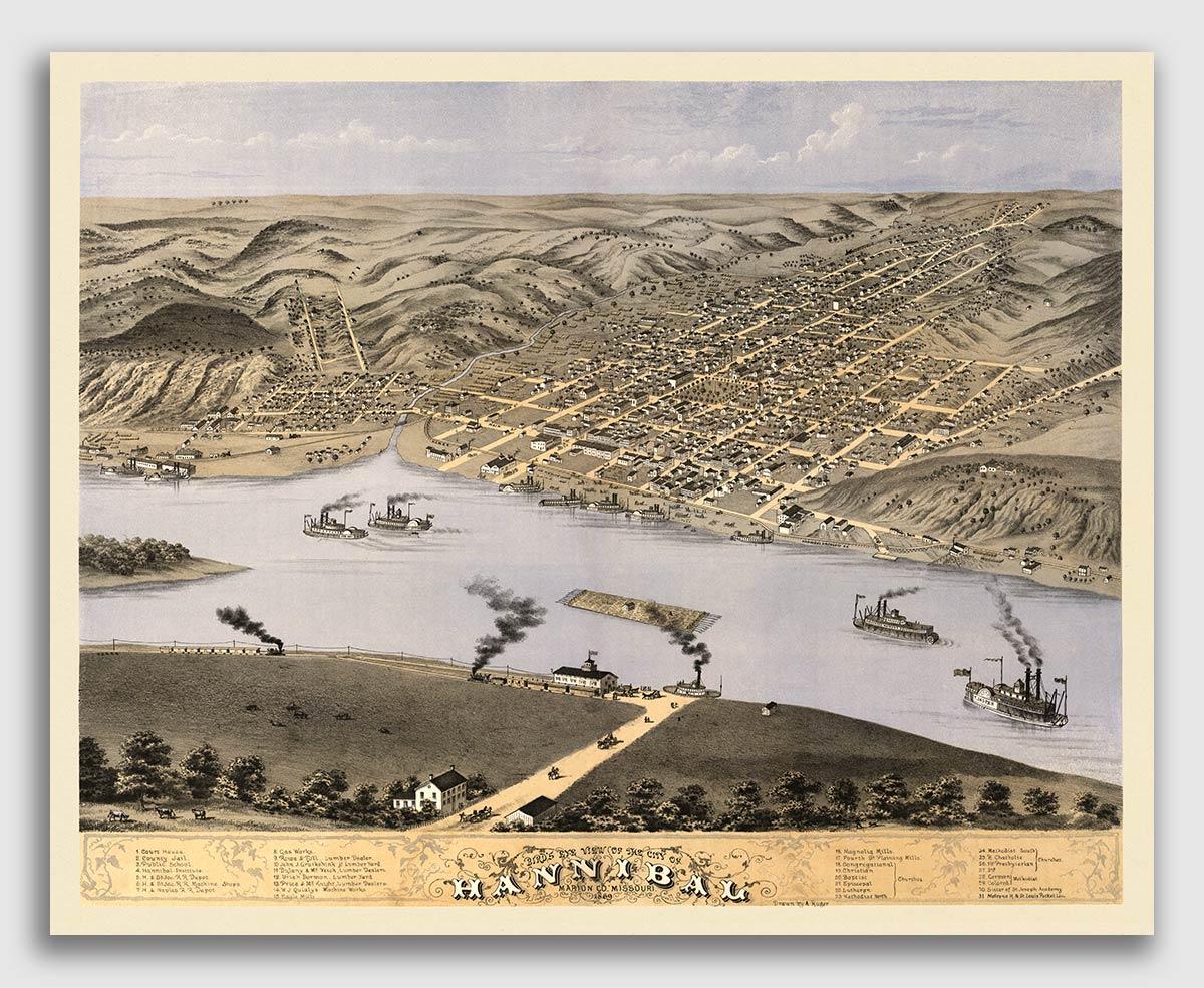 16x20 California MO 1869 Historic Panoramic Town Map