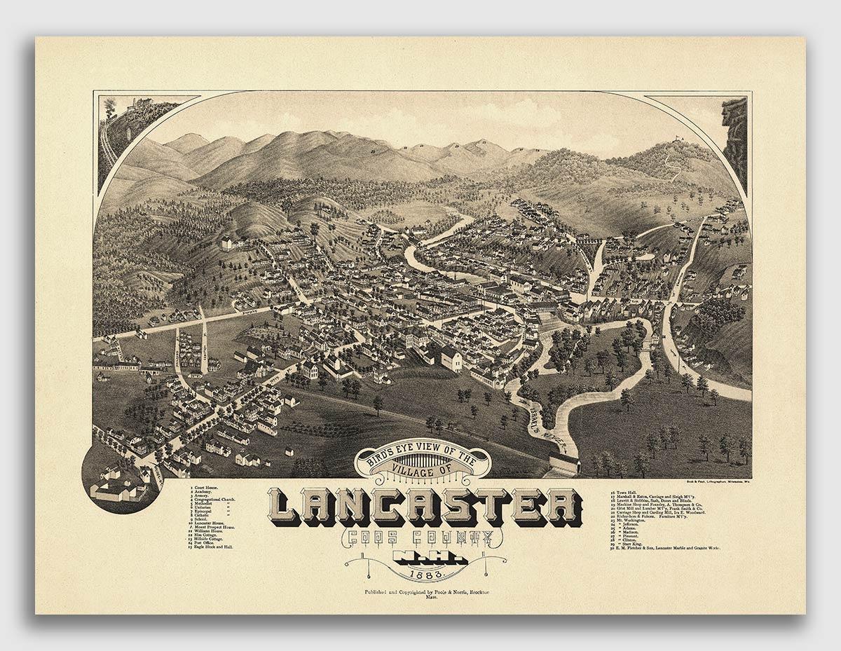 Bird/'s Eye View 1884 Franklin Falls NH Vintage Style City Map 20x28
