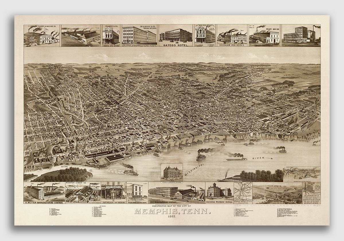 16x24 Memphis Tennessee 1870 Historic Panoramic Town Map