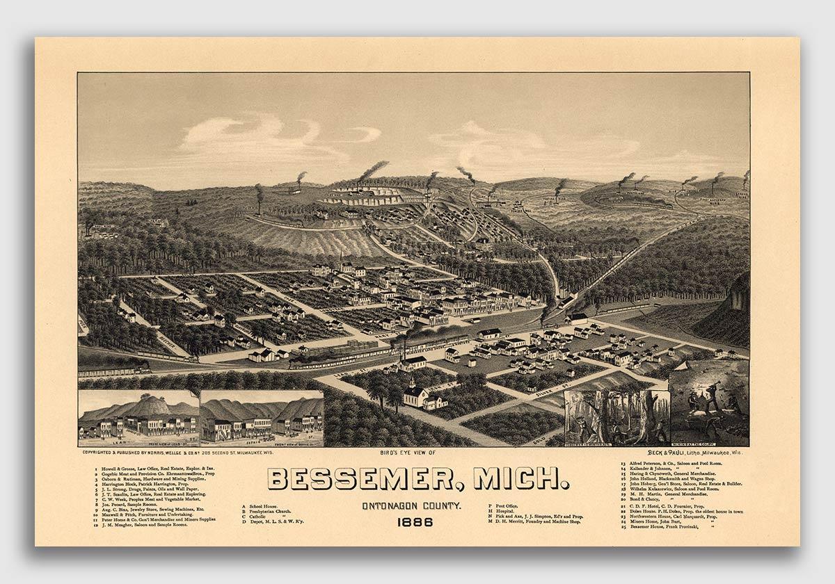 Bird/'s Eye View 1886 Bessemer Michigan Vintage Style City Map 24x36