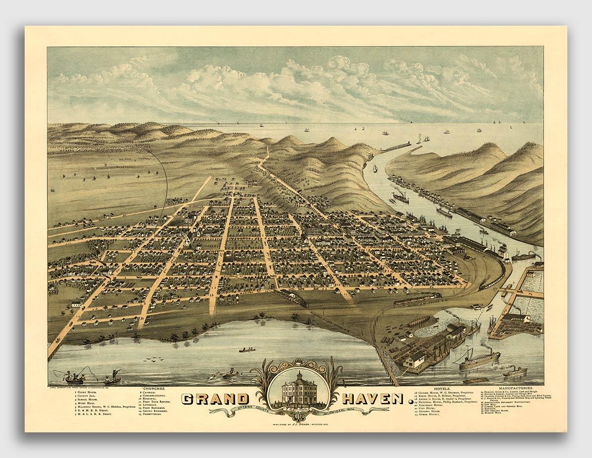 Kalamazoo Michigan 1874 Historic Panoramic Town Map 20x28