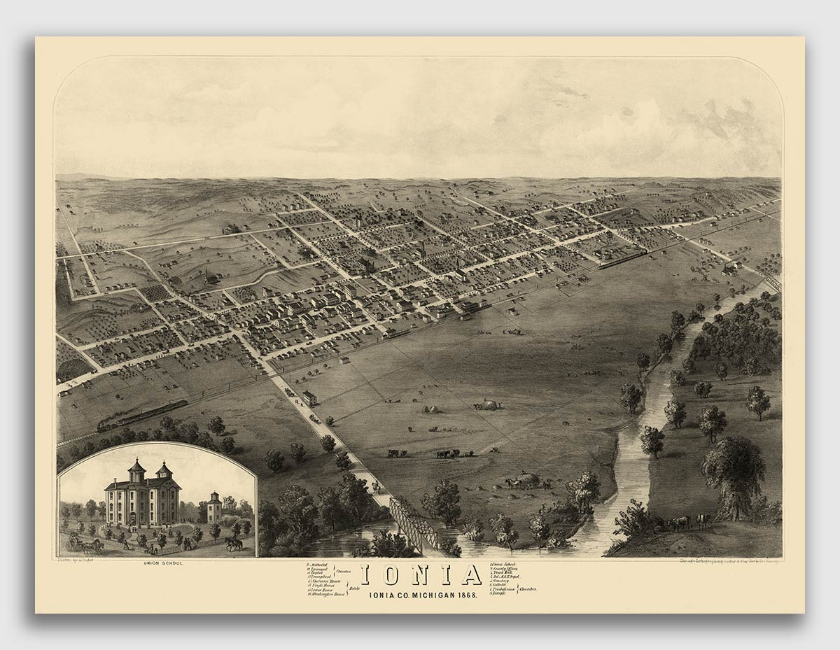 1868 Ionia Michigan Vintage Old Panoramic City Map 18x24 Ebay