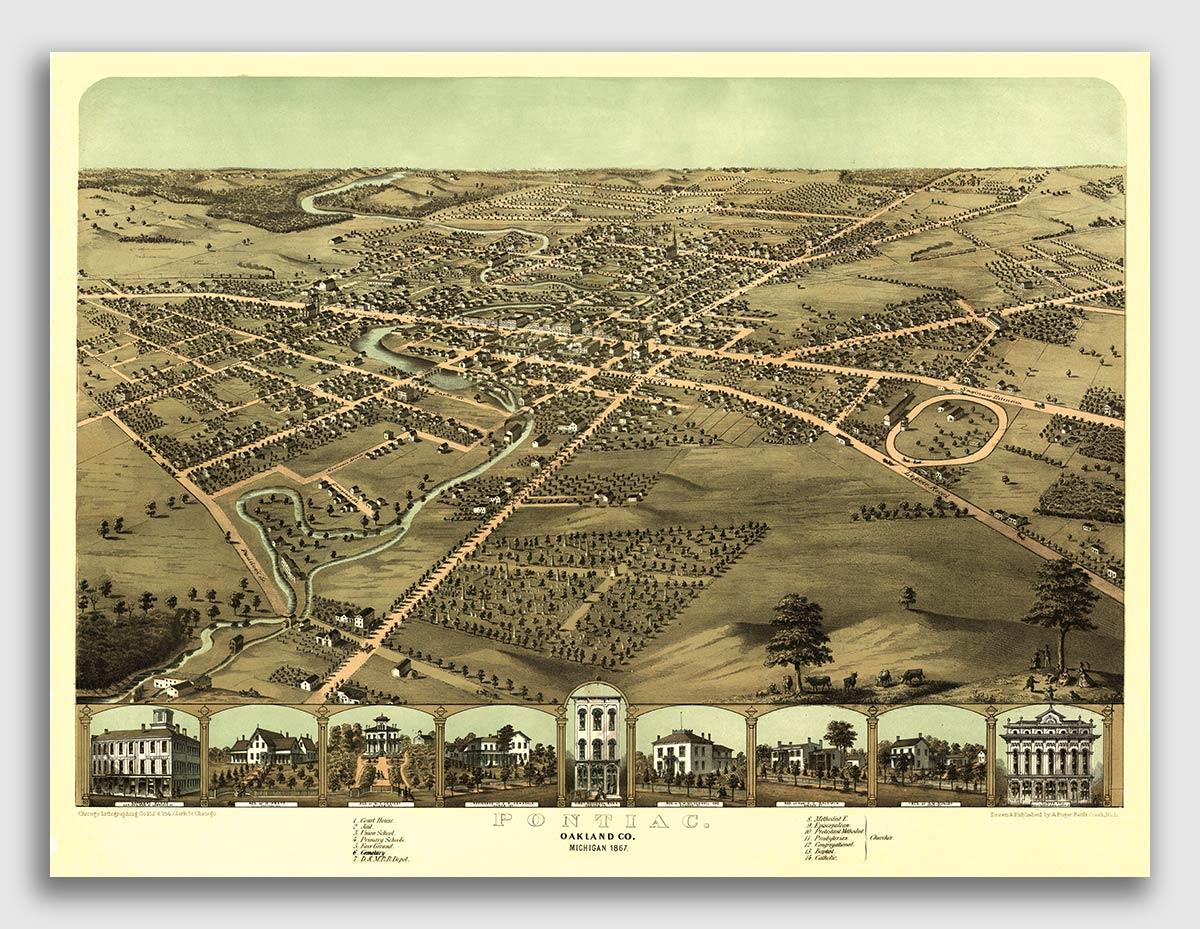 20x28 Jacksonville Florida 1893 Historic Panoramic Town Map