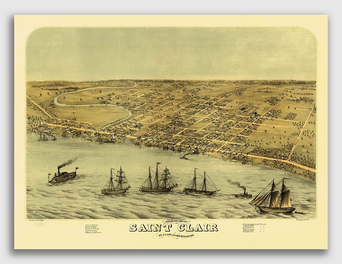 18x24 Marshall Michigan 1868 Historic Panoramic Town Map