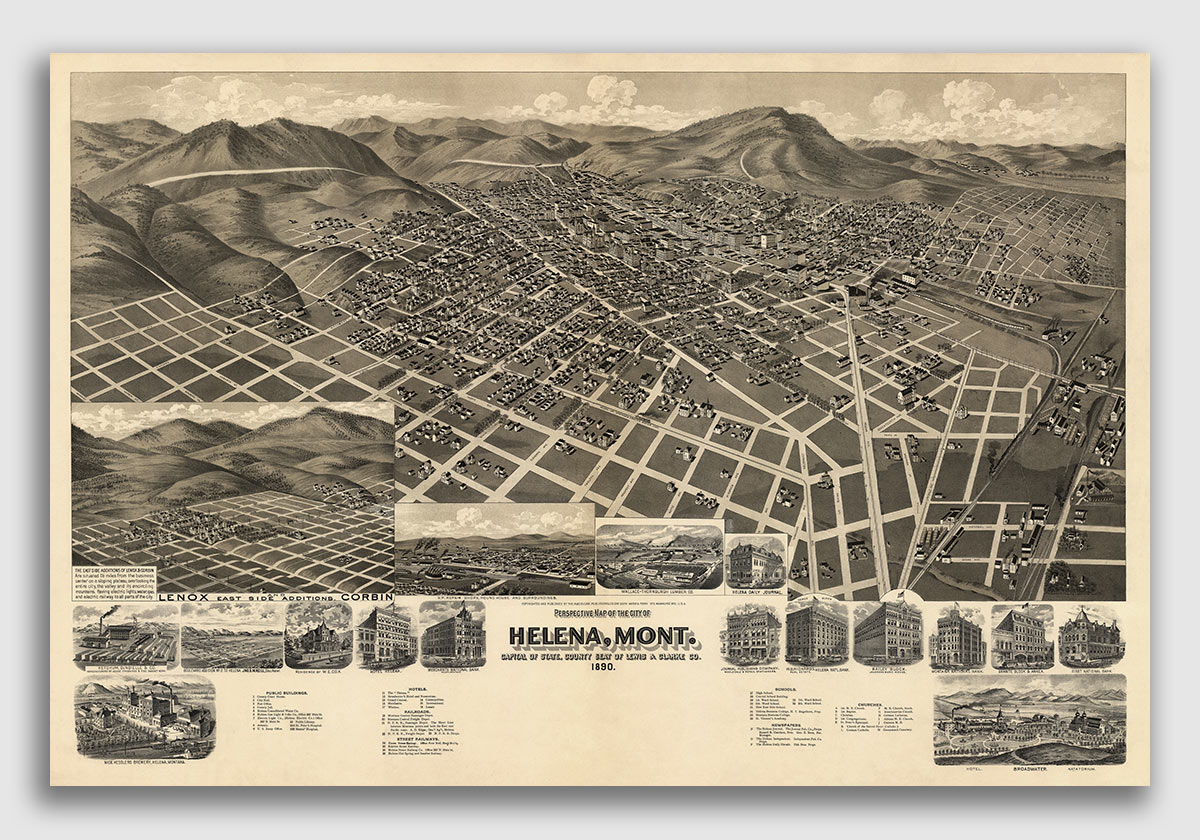 1891 Missoula Montana Vintage Old Panoramic City Map 24x36