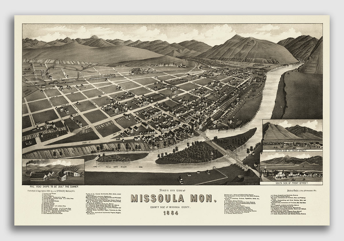 24x36 1891 Missoula Montana Vintage Old Panoramic City Map