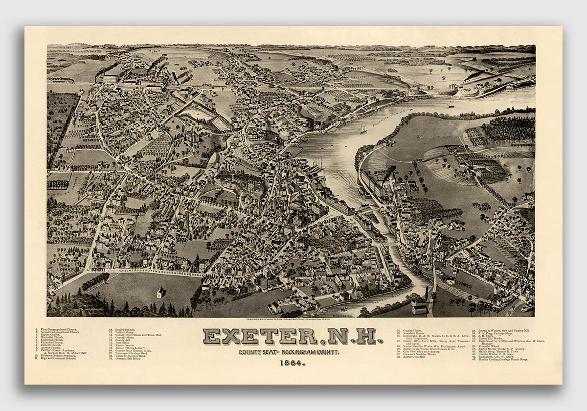 20x28 Bird/'s Eye View 1884 South New Market NH Vintage Style City Map