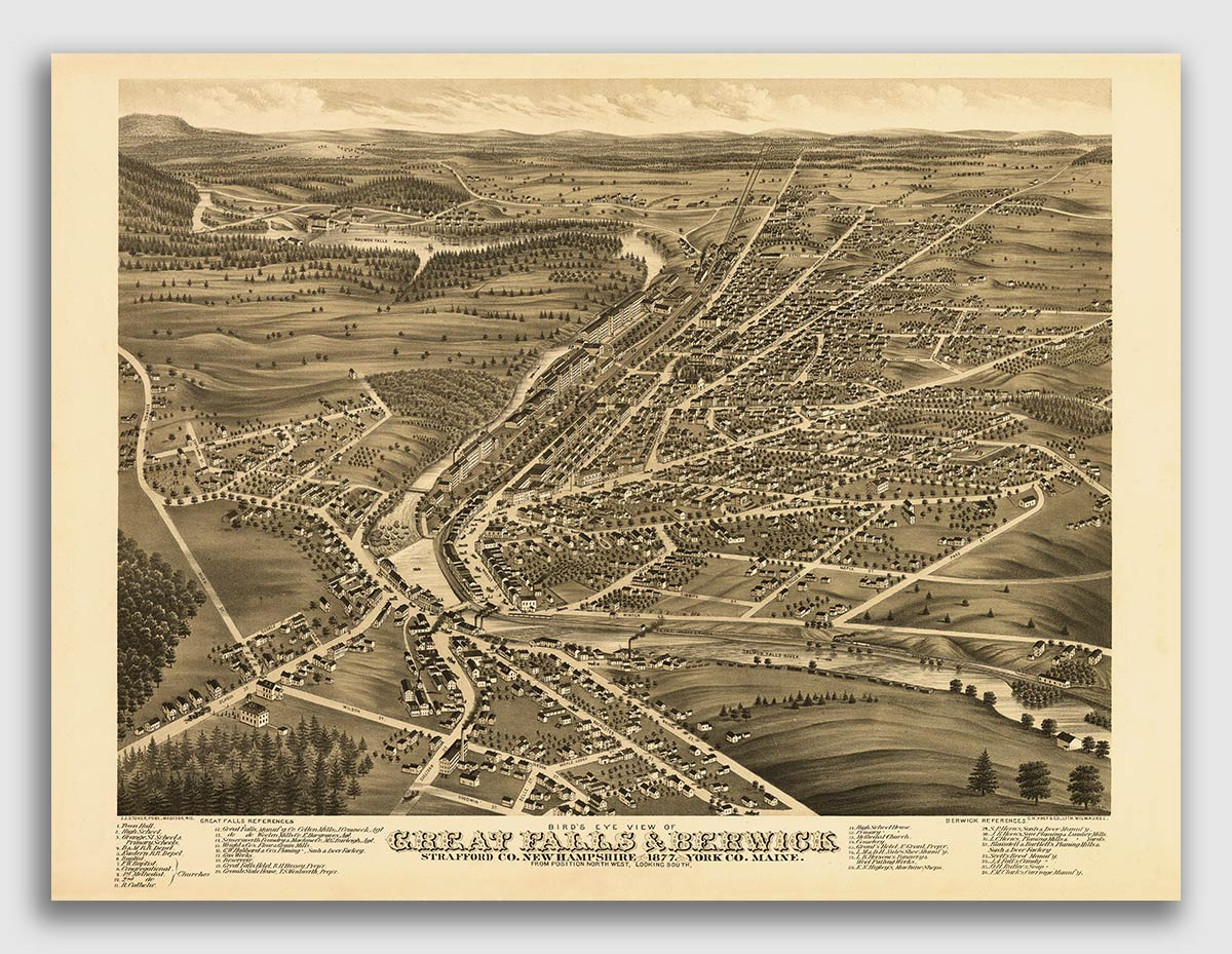 Bird/'s Eye View 1886 Greenville NH Vintage Style City Map 24x36