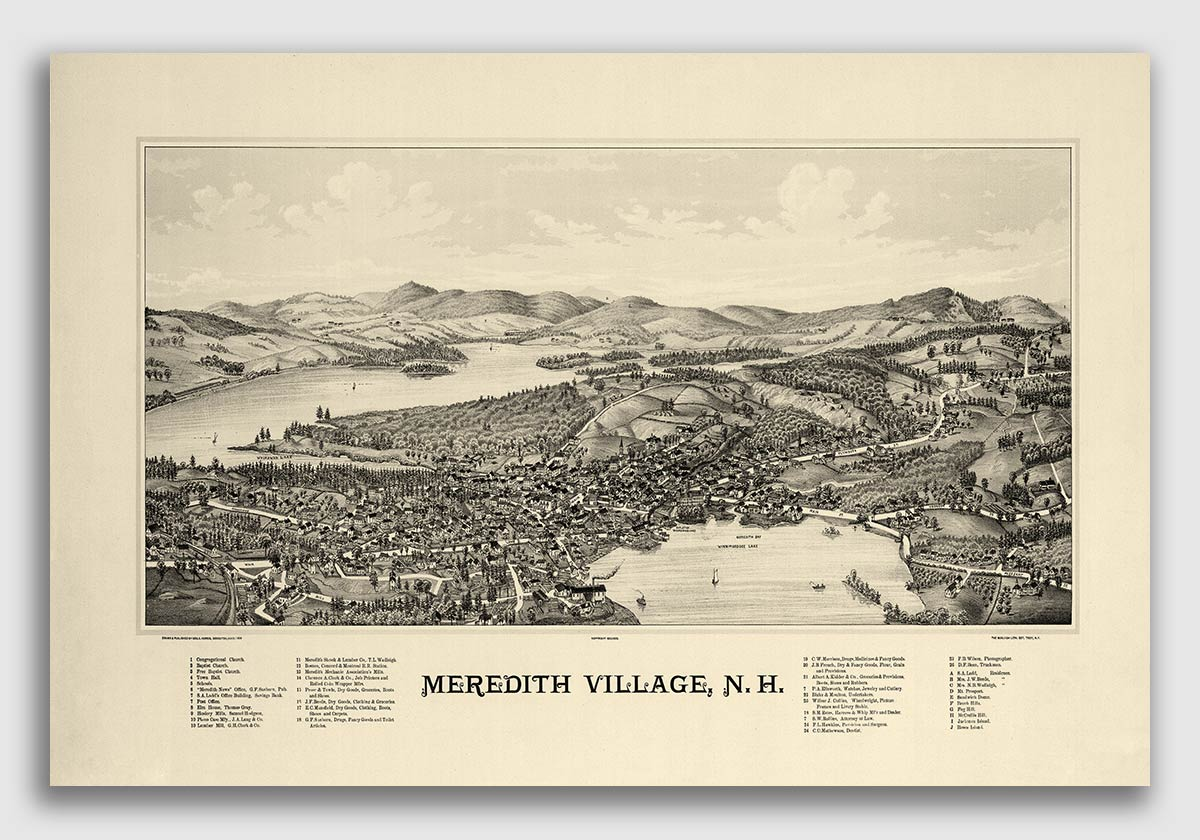 20x28 1877 Dover NH Vintage Old Panoramic City Map