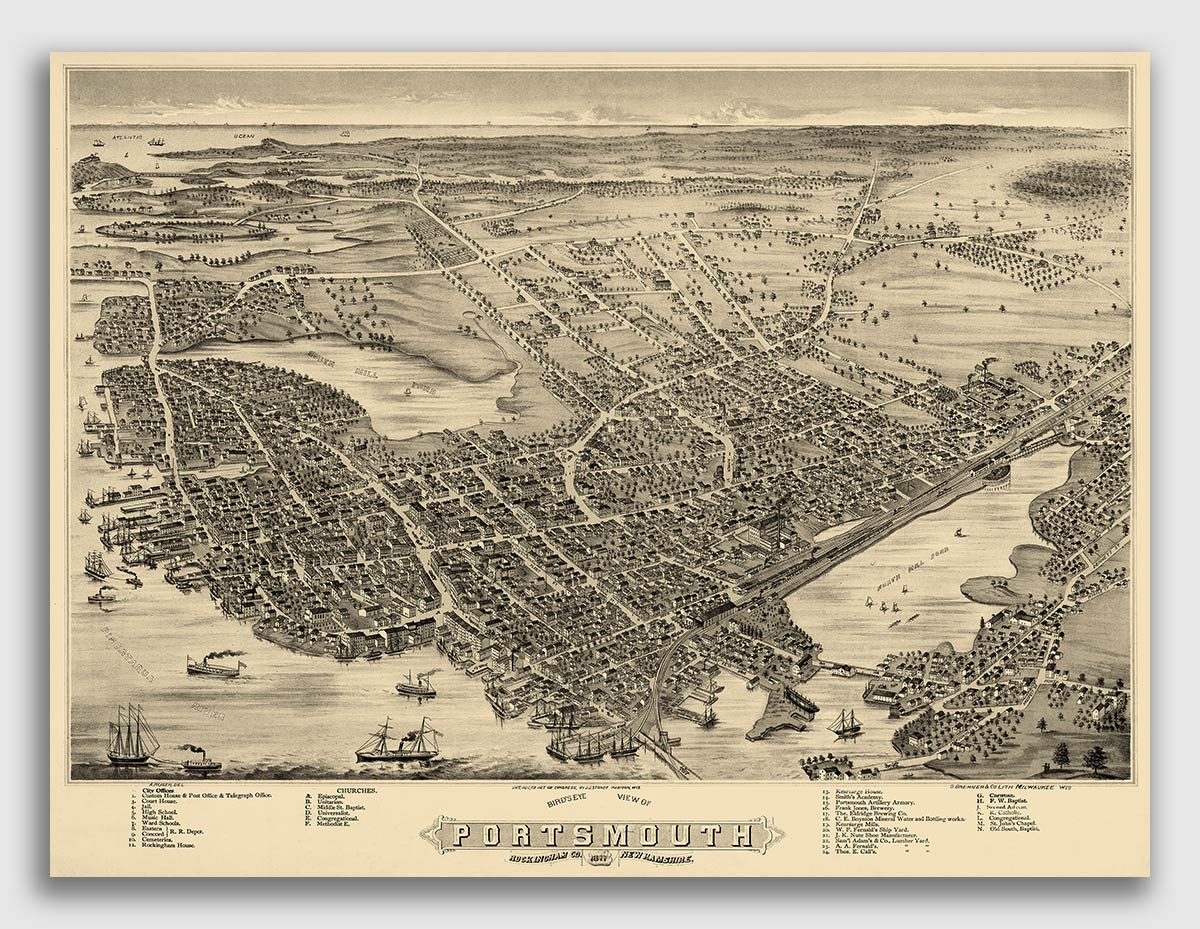 20x28 Bird/'s Eye View 1883 Lancaster New Hampshire Vintage Style City Map