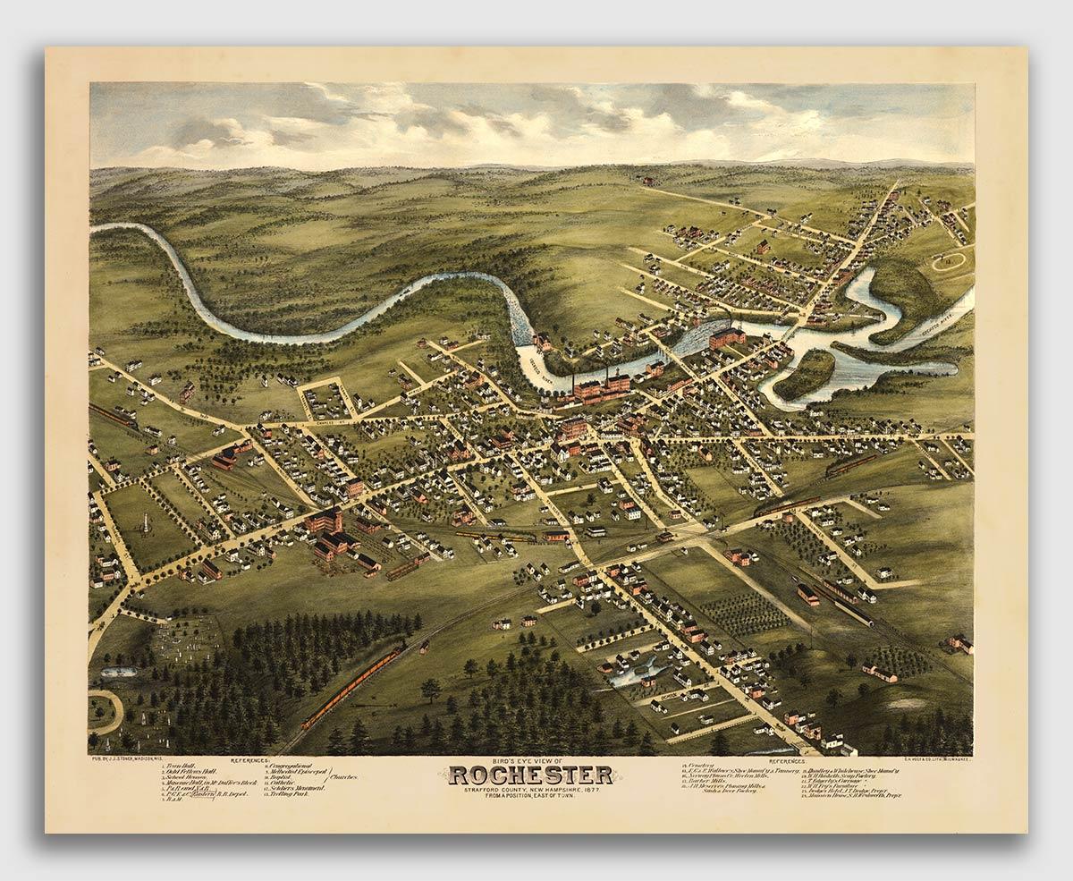 Milford NH 1886 Historic Panoramic Town Map 20x30