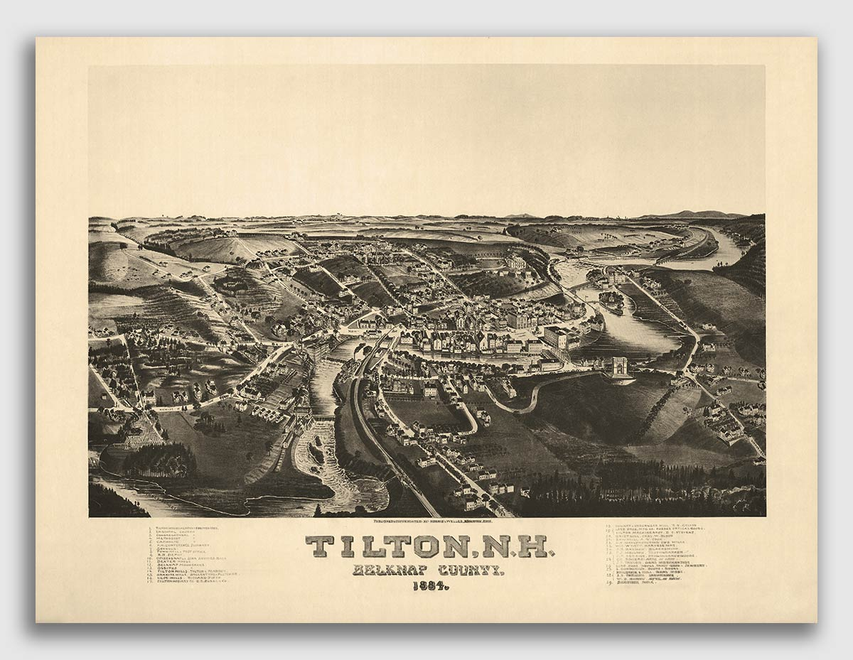 Bird/'s Eye View 1877 Portsmouth NH Vintage Style City Map 24x32