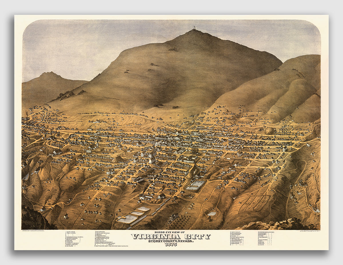 24x32 Bird/'s Eye View 1875 Virginia City Nevada Vintage Style City Map