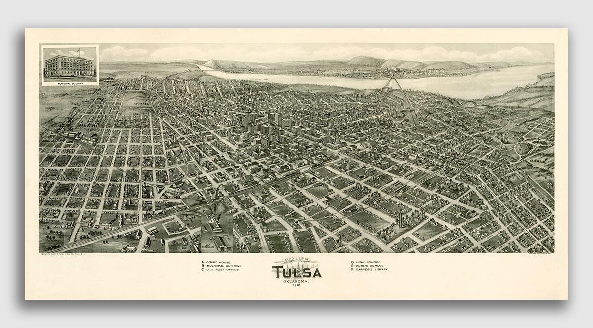 1918 Tulsa Oklahoma Vintage Old Panoramic City Map 18x36