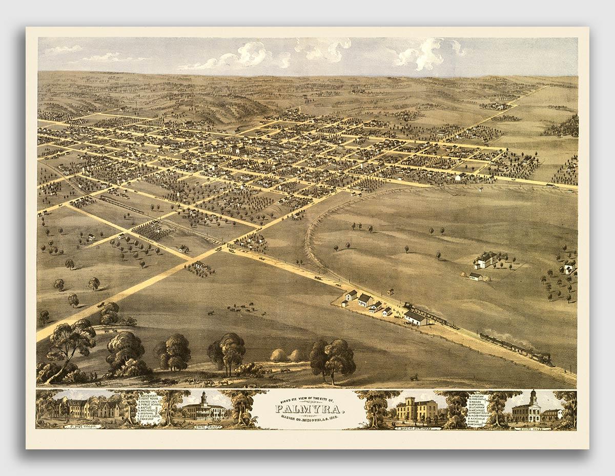 18x24 Saint Charles Missouri 1869 Historic Panoramic Town Map