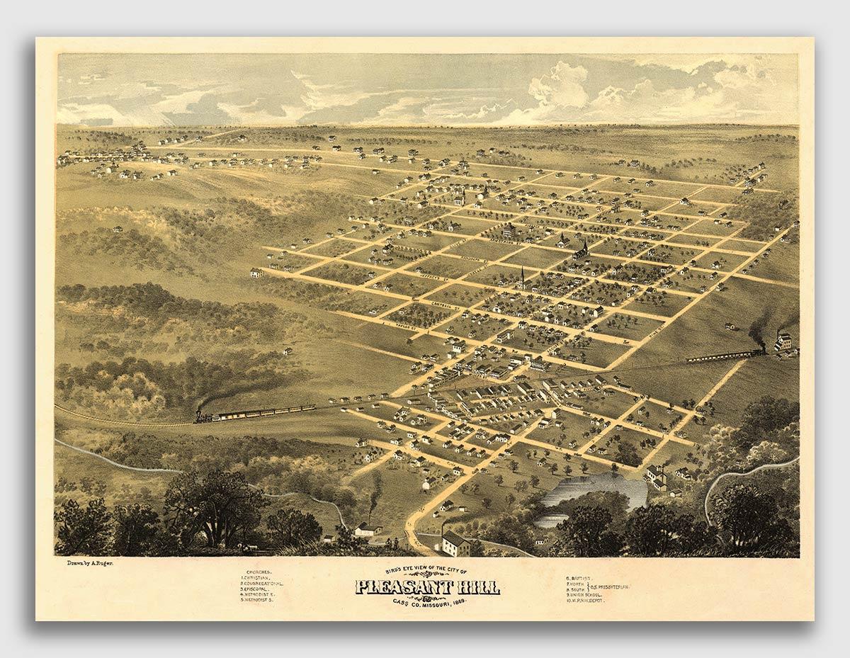 20x28 Bird/'s Eye View 1869 Kansas City Missouri Vintage Style City Map