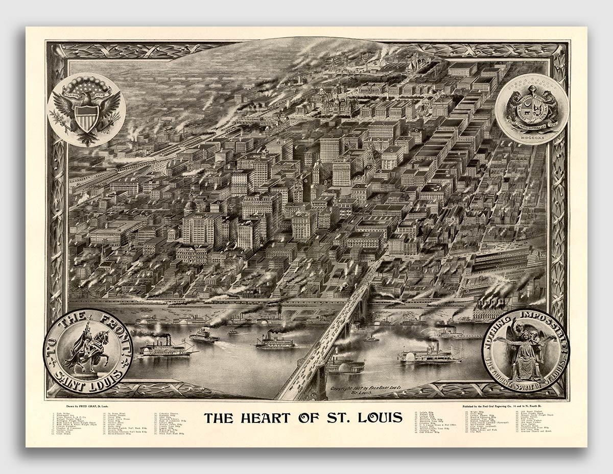 Bird/'s Eye View 1869 Kansas City Missouri Vintage Style City Map 20x28
