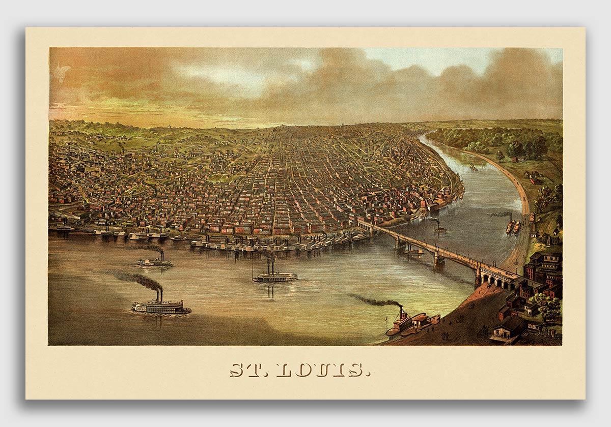 24x32 1869 Washington Missouri Vintage Old Panoramic City Map